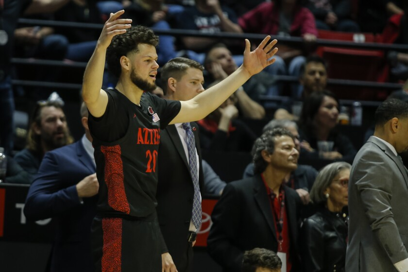 SDSU's Jordan Schakel (20) reacts from the bench after a foul call in a game against Nevada last season.
