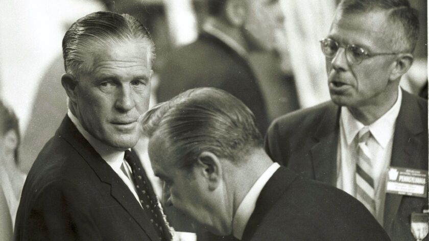 Michigan Gov. George W. Romney (left) at the Republican National Convention in Miami in 1968 where h