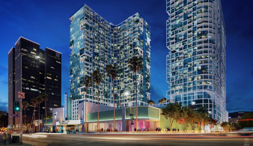 An artist rendering of the Palladium Residences, a pair of residential towers planned on parking lots behind the historic Hollywood Palladium.