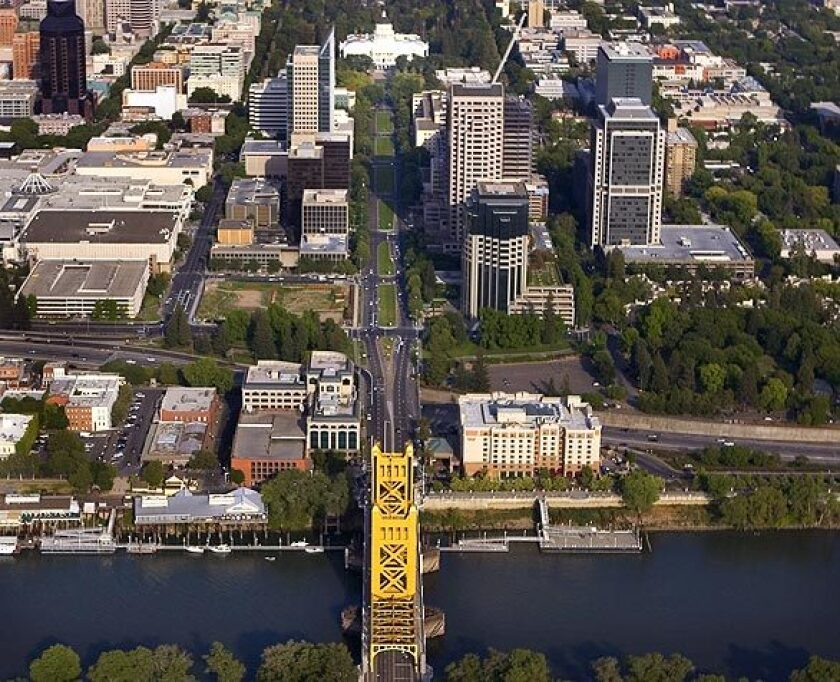 A view of Sacramento, with the Capitol Building