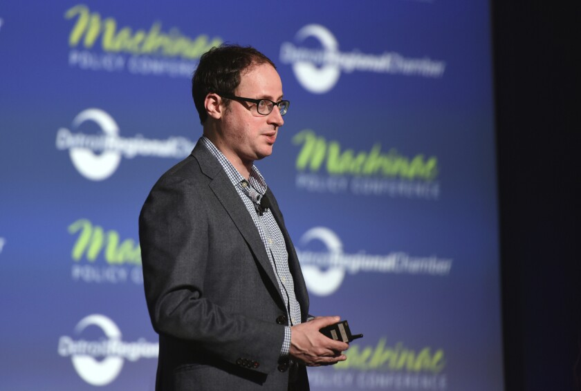 """FILE - In this May 28, 2015, file photo Nate Silver, founder of FiveThirtyEight.com and best selling author of """"The Signal and the Noise,"""" gives his keynote address during the Mackinac Policy Conference at the Grand Hotel on Mackinac Island, Mich. (Tanya Moutzalias/The Ann Arbor News-MLive.com Detroit via AP, File)"""