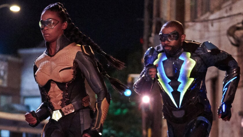 """Nafessa Williams and Cress Williams in a new episode of """"Black Lightning"""" on the CW."""