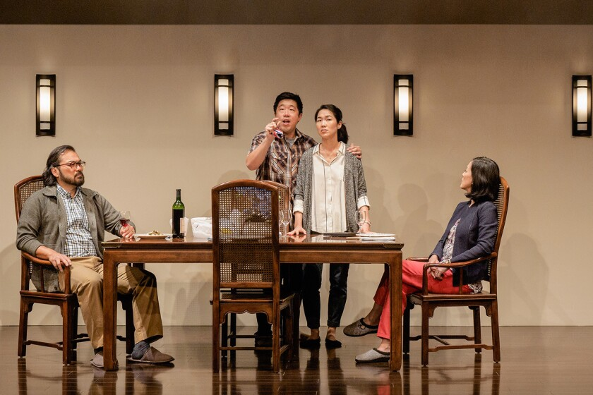 """David Shih, Raymond J. Lee, Jackie Chung and MaryAnn Hu (left to right) in La Jolla Playhouse's production of the Mike Lew comedy """"Tiger Style!,"""" directed by Jaime Castañeda."""