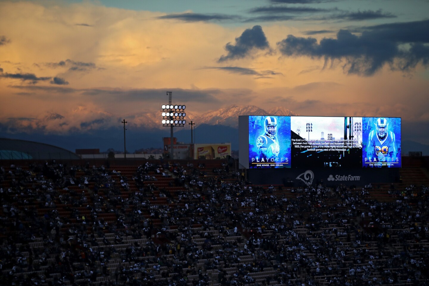 LOS ANGELES, CA - JANUARY 12: Mountains are seen from the stadium before the NFC Divisional Playoff game between the Los Angeles Rams and the Dallas Cowboys at Los Angeles Memorial Coliseum on January 12, 2019 in Los Angeles, California. (Photo by Sean M. Haffey/Getty Images) ** OUTS - ELSENT, FPG, CM - OUTS * NM, PH, VA if sourced by CT, LA or MoD **