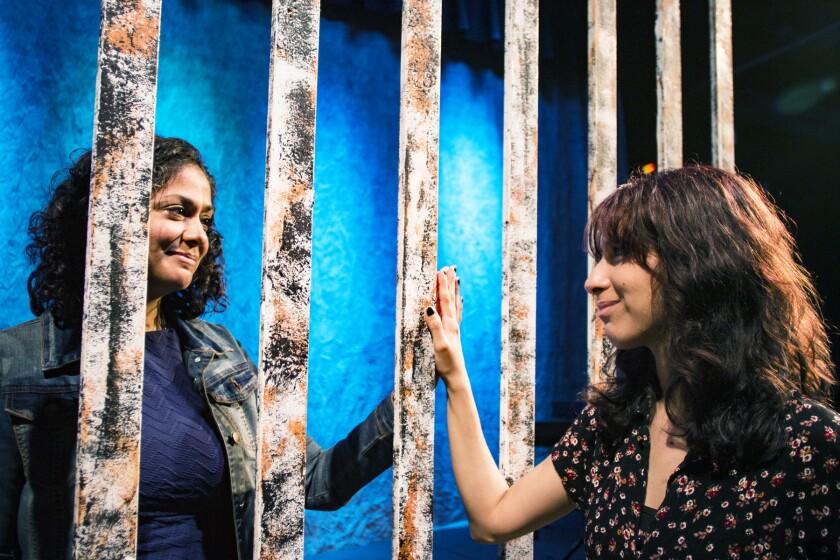 "Vivian Schmitz and Violeta Ruiz-Lopez star in the rock musical ""Miss You Like Hell."""