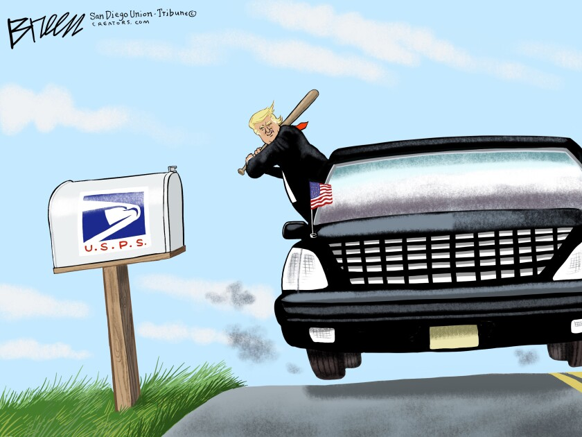 In this Breen cartoon, Trump is in his black limo with a bat ready to hit a mailbox labeled 'USPS'