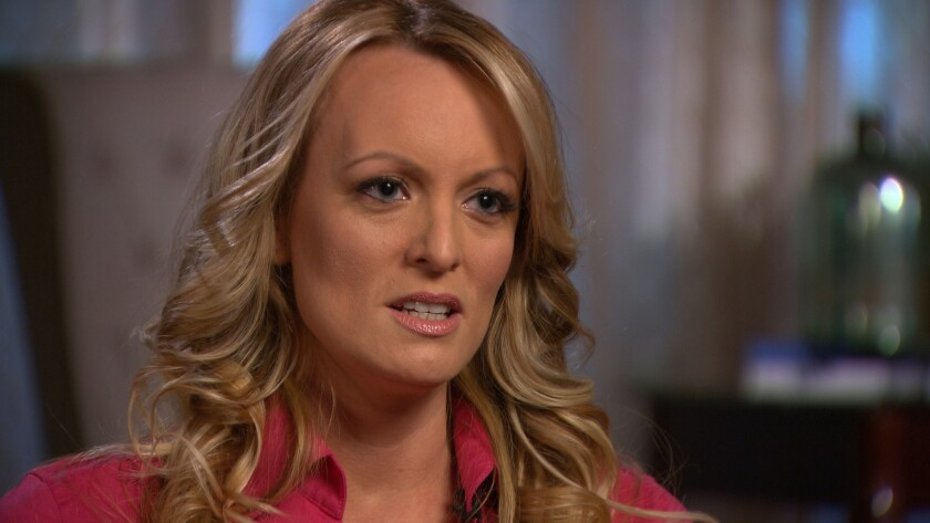 "Stormy Daniels during a ""60 Minutes"" interview that aired March 25 on CBS."