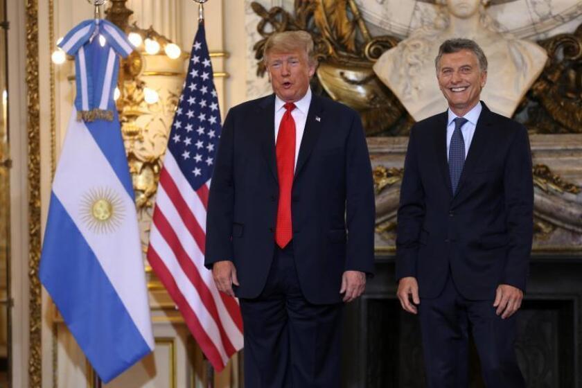 Argentinian President, Mauricio President, Mauricio Macri (R), with US President Donald J. Trump during a bilateral meeting, at Casa Rosada, the Argentinian president's official residence, in Buenos Aires, Argentina, Nov. 30, 2018. EPA-EFE/JUAN IGNACIO RONCORONI