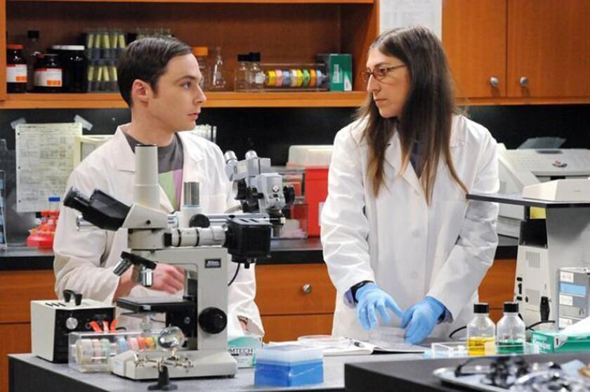 """Jim Parsons and Mayim Bialik in """"The Big Bang Theory."""""""