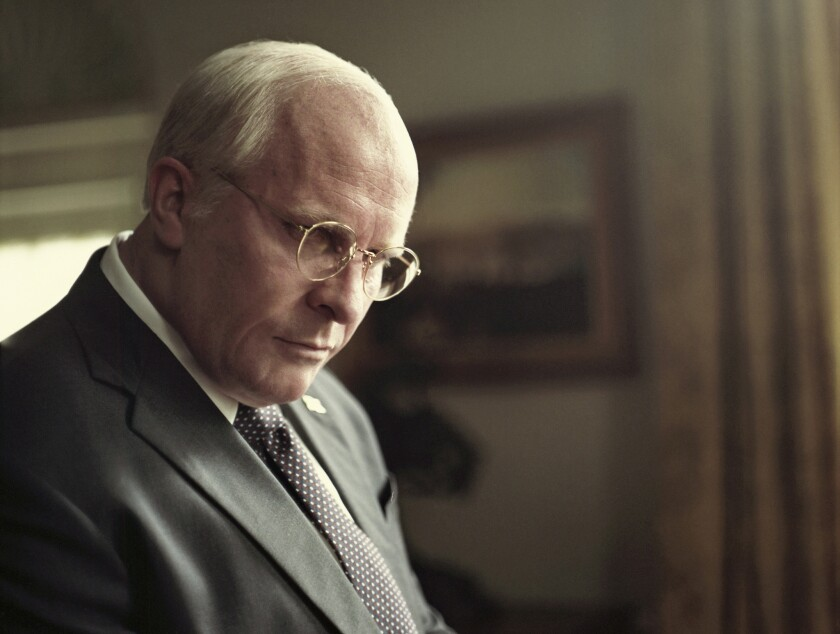 This image released by Annapurna Pictures shows Christian Bale as Dick Cheney, left, and Amy Adams a