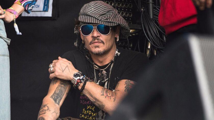 Johnny Depp attending the Glastonbury Festival in June in Glastonbury, England.