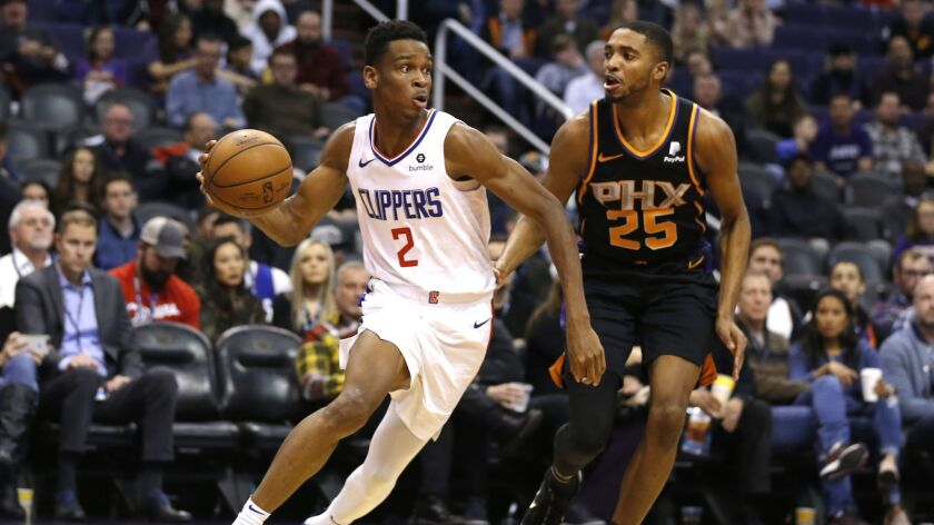 Clippers guard Shai Gilgeous-Alexander (2) in the first half during a game against the Phoenix Suns.