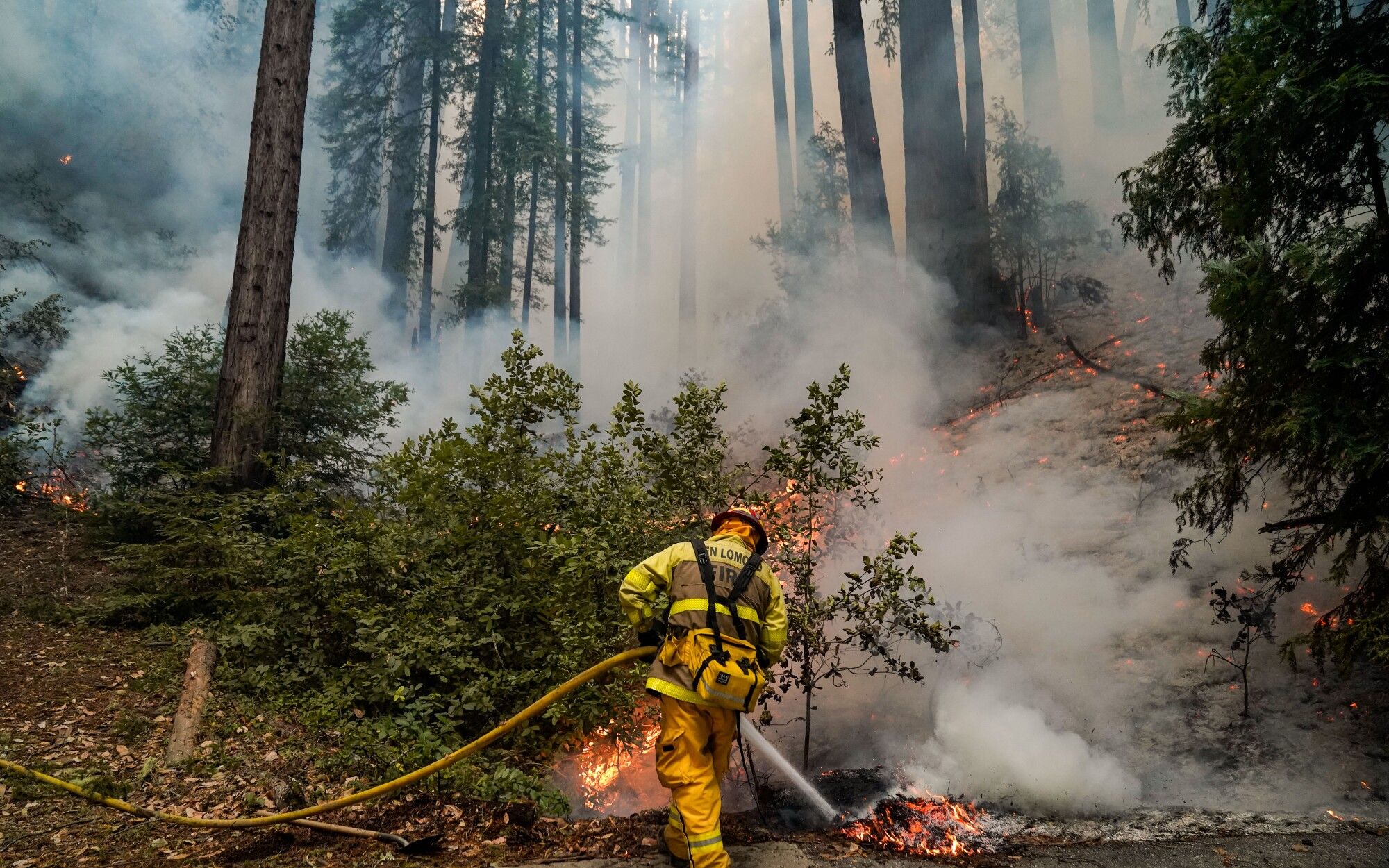 Ben Lomond firefighters work on a blaze at The Sequoia Retreat Center