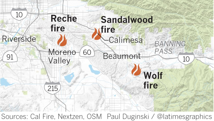 Three fires were burning in Riverside County.