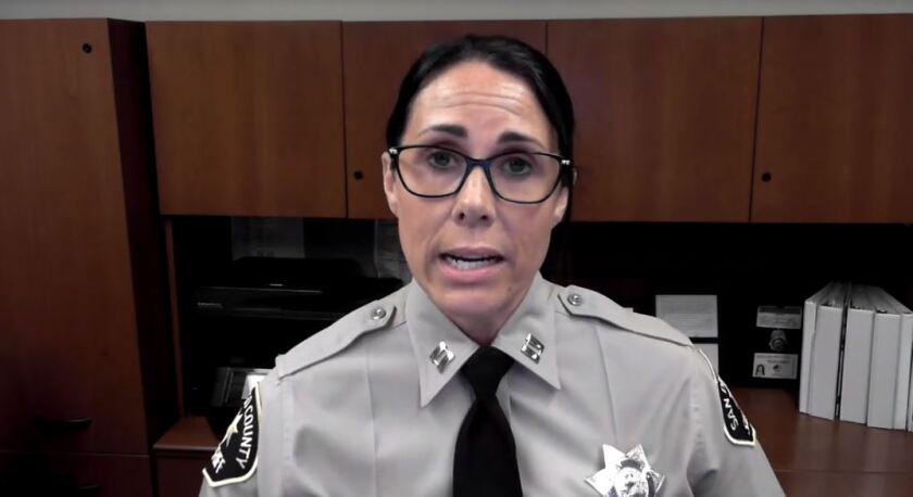 San Diego County Sheriff's Capt. Christina Bavencoff held a community forum virtually on Thursday night.
