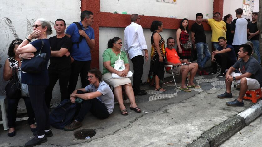 People line up in Sao Paulo for the yellow fever vaccine.