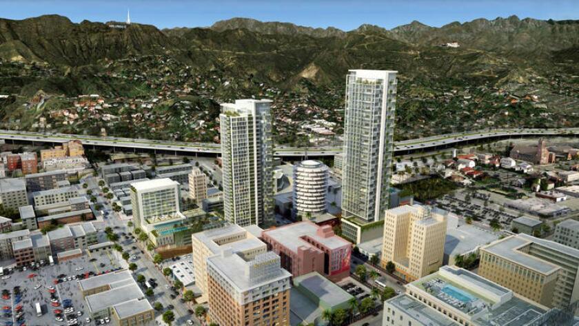 """Los activistas de Los Angeles están tratando de imponer nuevos límites sobre los """"megaproyectos"""" como el propuesto proyecto de rascacielos Millennium en Hollywood."""