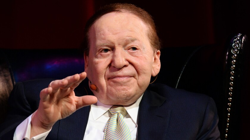 Sheldon Adelson speaks to students at the University of Nevada Las Vegas in 2014.