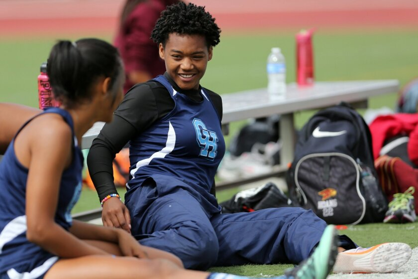 Granite Hills' Deajanae Harvey competes in the long jump Saturday. Harvey is a basketball player whom a friend persuaded to try track.
