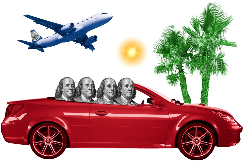 A car full of Benjamin Franklins heading on vacation.