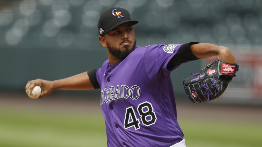 Rockies pitcher German Marquez practices with the team July 5 at Coors Field in Denver.