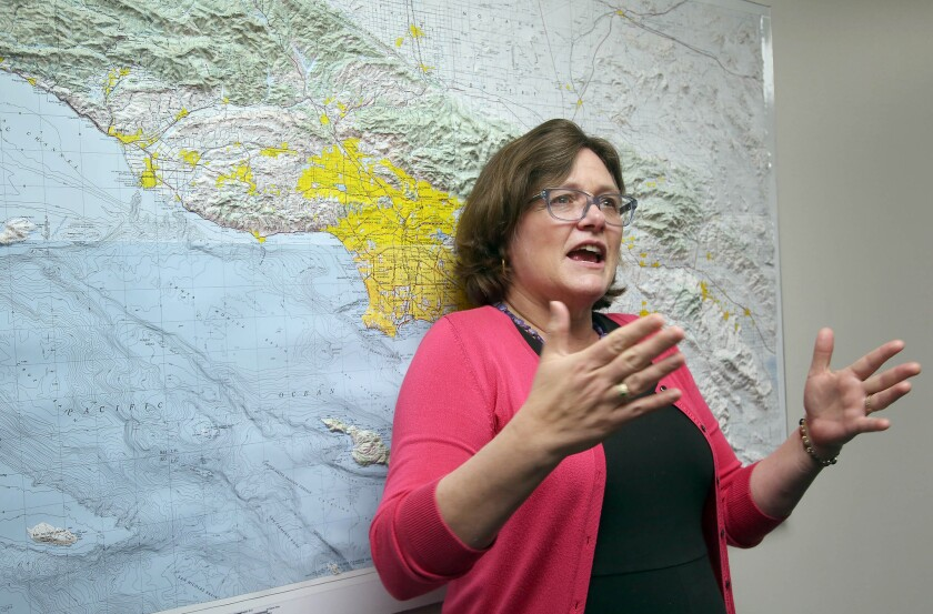 Lucy Jones, a USGS seismologist, talks during a news conference at Caltech in Pasadena.