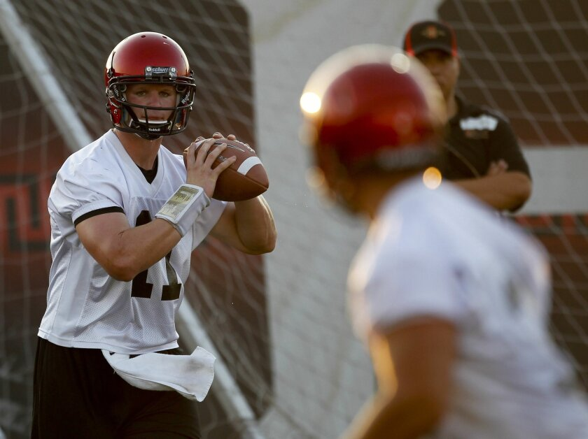 Left-handed scout team freshman QB Matt Morin has gotten the Aztecs' defense used to having to switch gears this season.