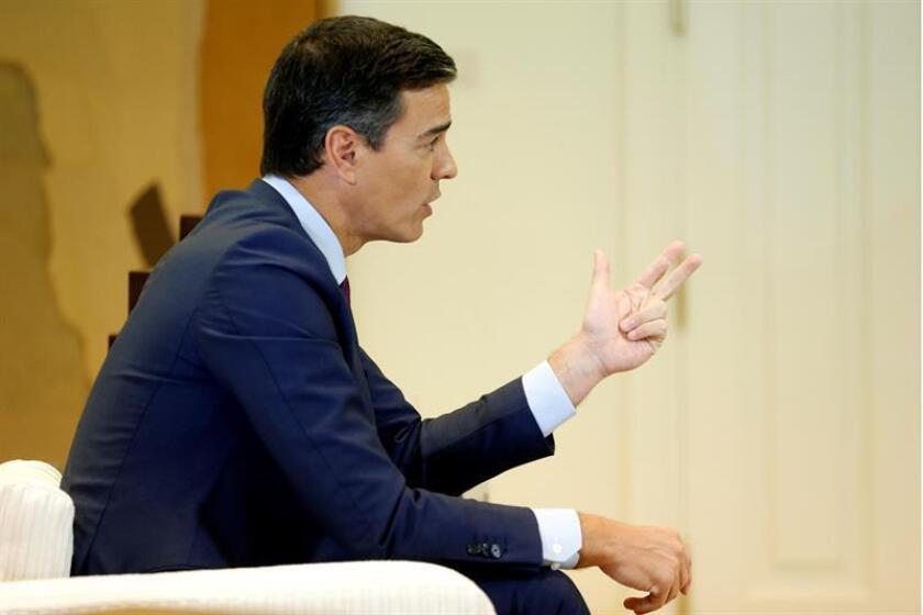 El presidente del Gobierno, Pedro Sánchez, durante la entrevista con la Agencia Efe en el Palacio de La Moncloa en la que el jefe del Gobierno repasa diferentes asuntos de actualidad. EFE