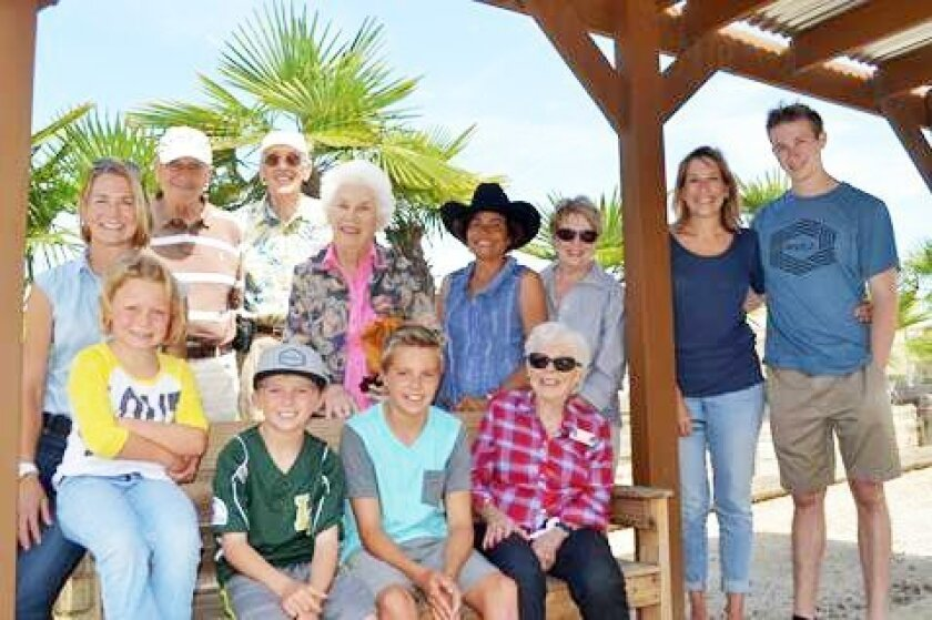 Helen Downey surrounded by four generations of family and friends. Courtesy photo