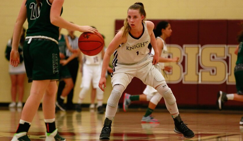 Alessandra Aguirre of Bishop's hit five 3-pointers Friday to increase her season total to 135, breaking the San Diego Section mark of 134 set by Santana's Kelly Simers in 1996.