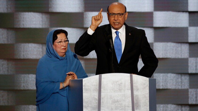 Ghazala and Khizr Khan at the Democratic National Convention.