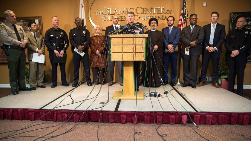 LAPD Deputy Chief Michael Downing holds a press conference with members of law enforcement and the Muslim community to detail letters that threatened the genocide of Muslims at the Islamic Center of Southern California in Los Angeles on Nov. 28, 2016.