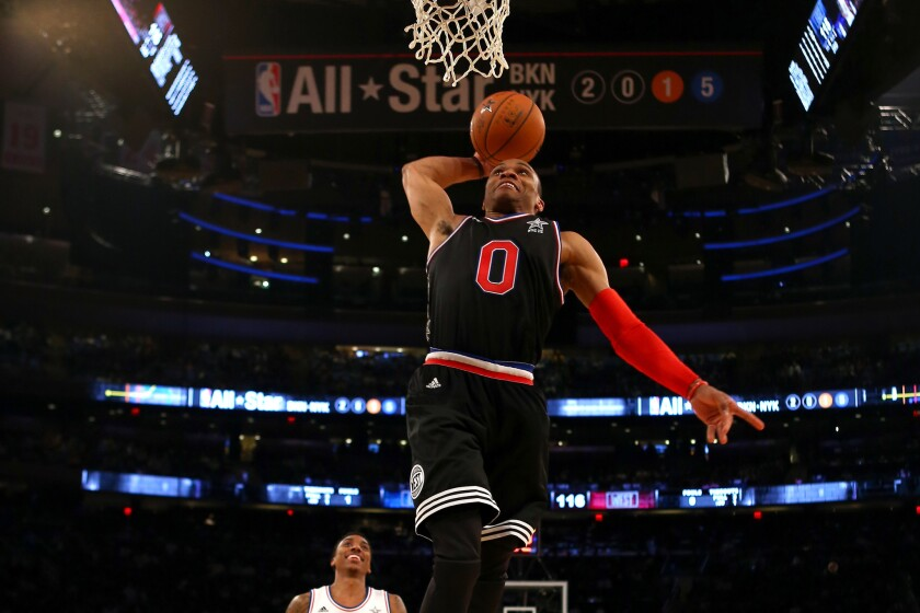 West guard Russell Westbrook of the Thunder elevates for a dunk in the second half of the NBA All-Star game Sunday at Madison Square Garden.