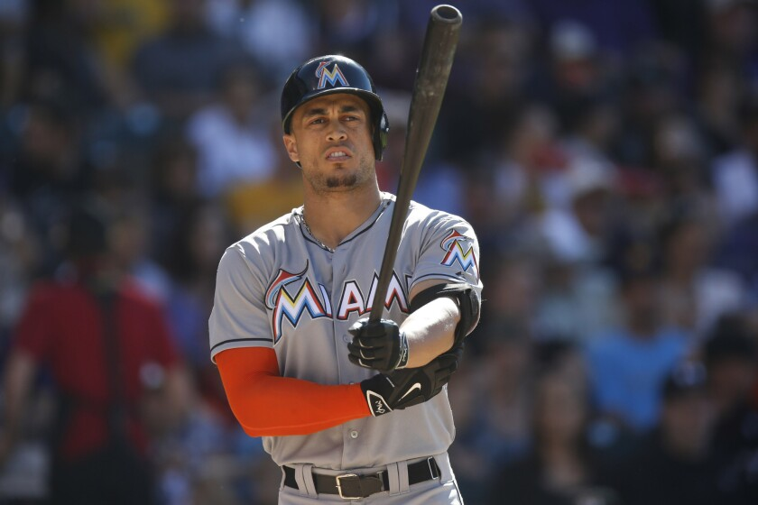 Miami Marlins right fielder Giancarlo Stanton steps to the plate against the Colorado Rockies during a game on June 6.