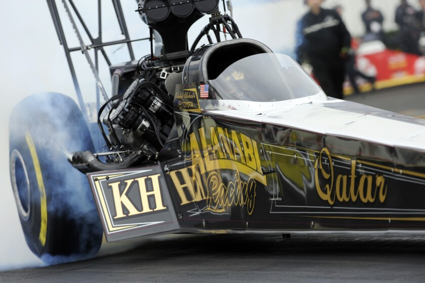 Top Fuel driver Khalid alBalooshi powered his Al-Anabi Racing dragster to victory during the 2014 Winternationals at Auto Club Raceway in Pomona in February 2014.