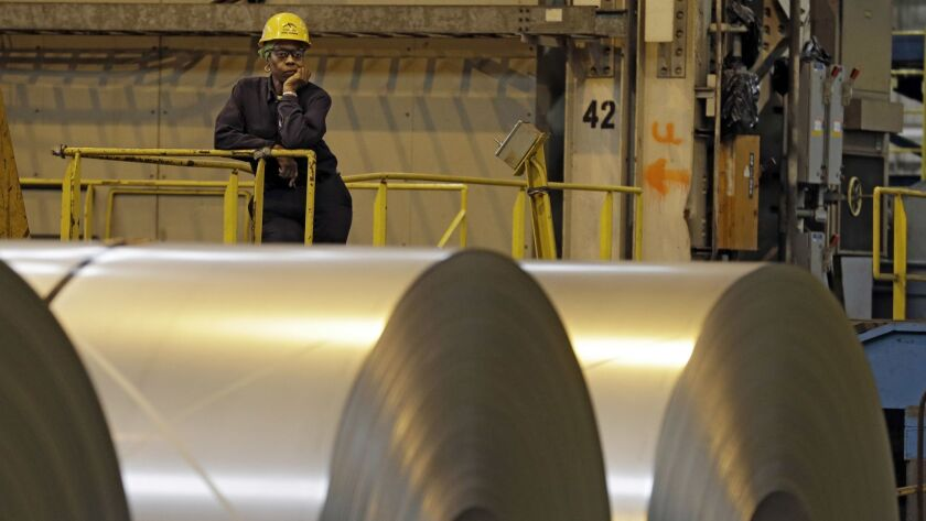 A worker at ArcelorMittal Steel in Ohio in 2013.