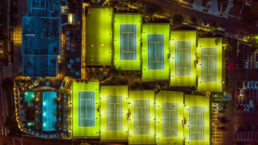 An overhead shot of the Griffin Club; the pool and tennis courts will be hold some of the sessions a
