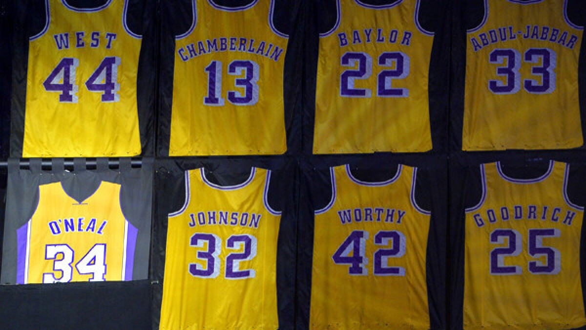 info for 5c631 985f7 Lakers acknowledge error in Shaquille O'Neal's retired ...