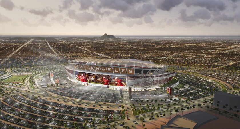 Rendering of a proposed 72,000-seat pro football stadium in Carson.