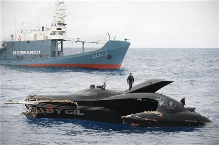 This photo provided by the Sea Shepherd Conservation Society shows the sheared off bow of the Ady Gil, foreground, a high-tech speed boat that resembles a stealth bomber after a collision with a Japanese whaling ship in the frigid waters of Antarctica on Wednesday Jan. 6, 2010. The conservation group said its vessel had its bow sheared off after it was hit by the Shonan Maru, background, near Commonwealth Bay. The clash was the most serious in the past several years, during which the Sea Shepherd has sent vessels into far-southern waters to try to harass the Japanese fleet into ceasing its annual whale hunt. Crew member Laurens De Groot, center, is seen on top of the vessel. (AP Photo/Sea Shepherd Conservation Society, JoAnne McArthur) NO SALES MANDATORY CREDIT
