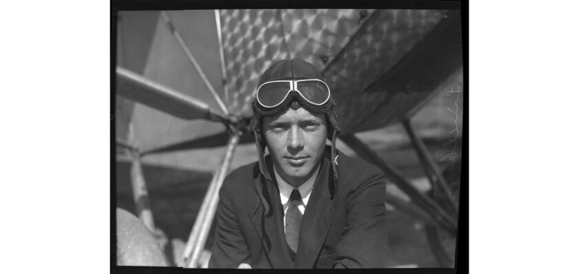 Charles Lindbergh test flying the Spirit of St. Louis