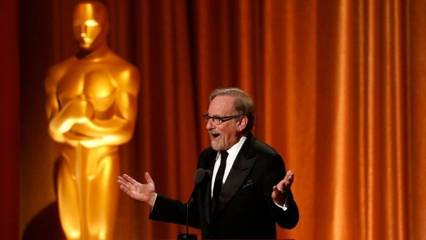 Steven Spielberg, pictured at the AMPAS Governors Awards in November 2018, thinks films should spend time in theaters if they are to be nominated for Oscars.