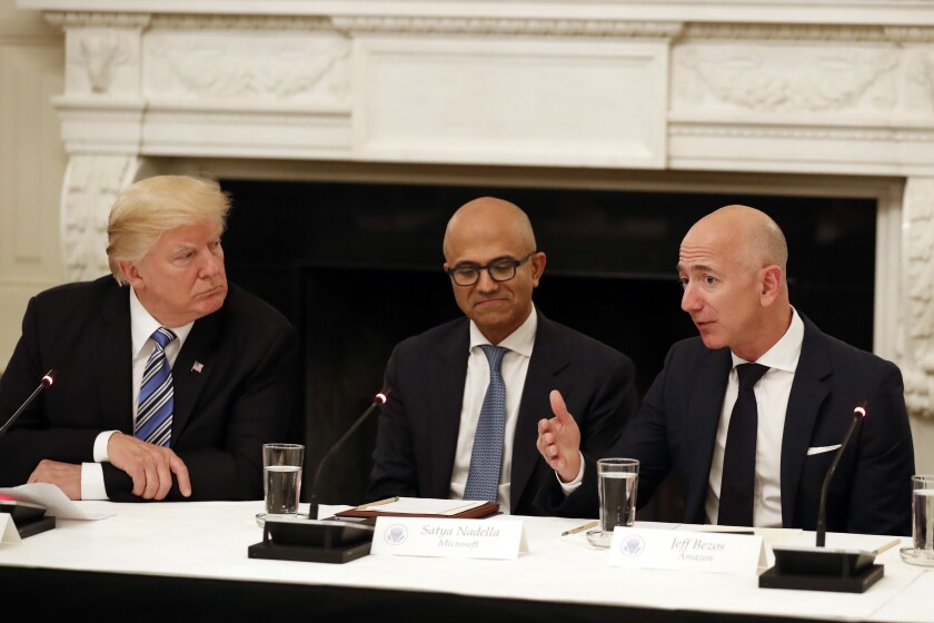 Donald Trump, Satya Nadella and Jeff Bezos