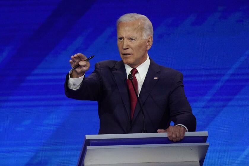 Former Vice President Joe Biden speaks at the Democratic presidential debate in Houston