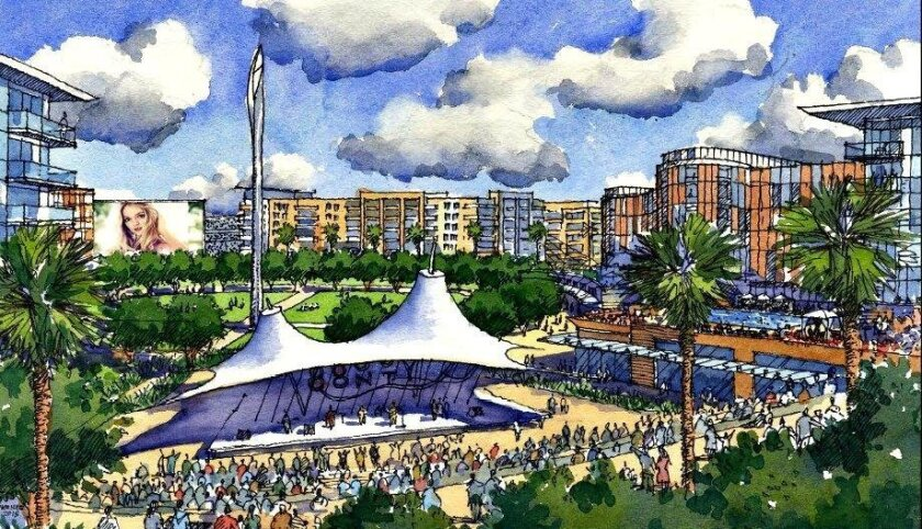"""One option for redeveloping the Mission Valley site calls for demolishing Qualcomm Stadium and replacing it with """"The Commons"""" meeting space and """"The Bowl"""" amphitheater, surrounded by student housing. The new stadium can be seen beyond the digital screen in the background."""