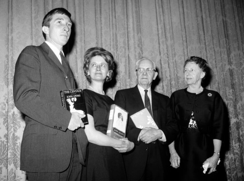 National Book Awards winners, from left, John Updike, Aileen Ward and John Crowe Ransom, with Mary Stahlman Douglas, the book page editor of the Nashville Banner.