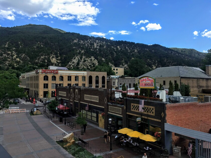The train station in Glenwood Springs, Colo., is just steps away from its lively downtown area.