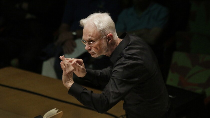 "LOS ANGELES, CA MAY 26, 2015. John Adams, conducting LA Phil New Music Group in Dylan Mattingly's ""S"