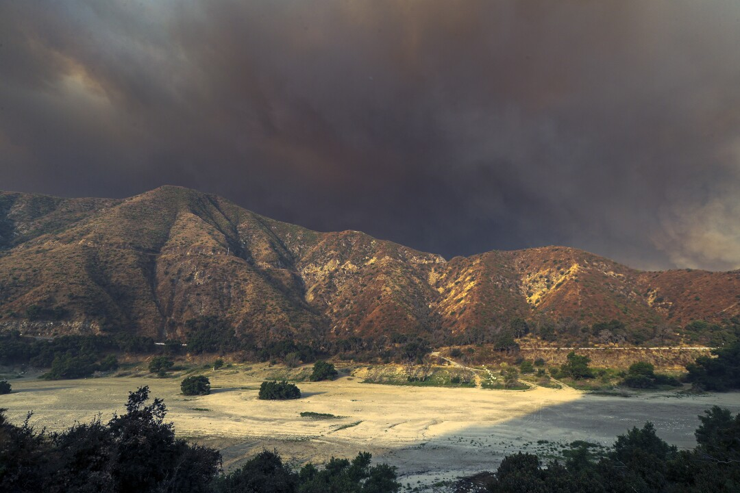 The Bobcat fire burns in the San Gabriel Mountains