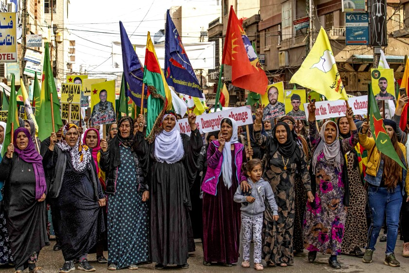Syrian Kurds protest in the city of Qamishli, Syria